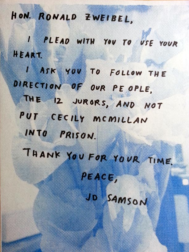 JD Samson Letter of Support for Cecily McMillan