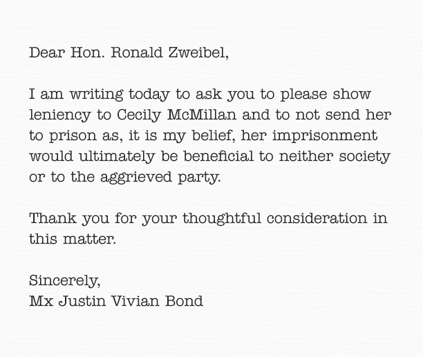 Justin Vivian Bond Letter of Support for Cecily McMillan