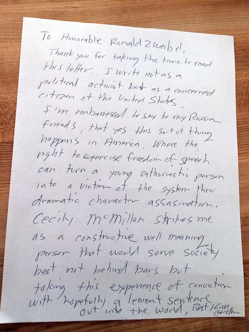 Kim Gordon Letter of Support for Cecily McMillan