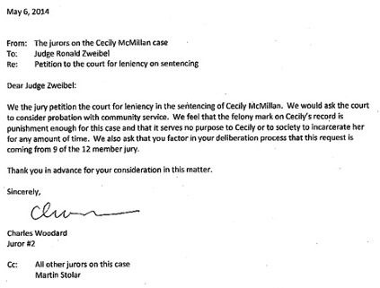 Cecily McMillan Jury Letter