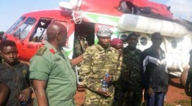 'Lt Col' Opio being received by Col Kabango in CAR on Wednesday
