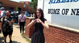 Cecily McMillan outside Rikers Island today. Photo via Twitter @AshAgony