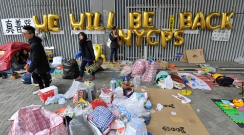 A vow to return is left by protestors at Occupy Central (Lucas Schifres, Getty Images.)