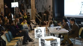 """A conference at Izolyatsia's location in exile at a Kyiv shipyard for """"Revision,"""" the first installation in its new incarnation (Izolyatsia.)"""