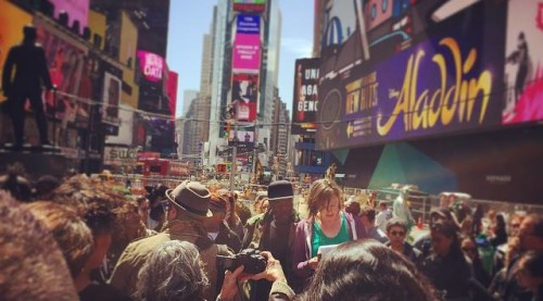 New York's performance found artists and supporters making themselves heard in a crowded Times Square (Creative Time.)