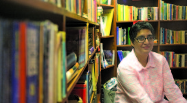 Sabeen Mahmud in her Karachi café, bookstore, and forum The Second Floor (Ricochet.)
