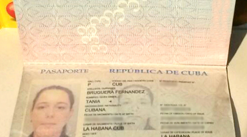The passport of artist Tania Bruguera, returned to her by Cuba officials on Friday, July 10th.