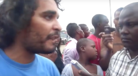 Luaty Beirão, aka Ikonoklasta, in a 2011 pro-democracy protest. That peaceful protest was infamously dispersed by police, who injured 14 (YouTube).