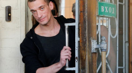 Pyotr Pavlensky exits a Moscow court a free man after over six months behind bars (Reuters).
