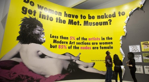 In a Milwaukee, Wisconsin show, the Guerrilla Girls continued to challenge the art world to represent women. Their evolving mission started on this same point in New York in 1985 (Judy Griesedieck/MPR News).